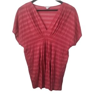 Calvin Klein women's pink v-neck pleated front top